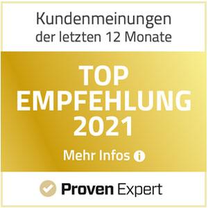 ProvenExpert TOP Empfehlung 2021