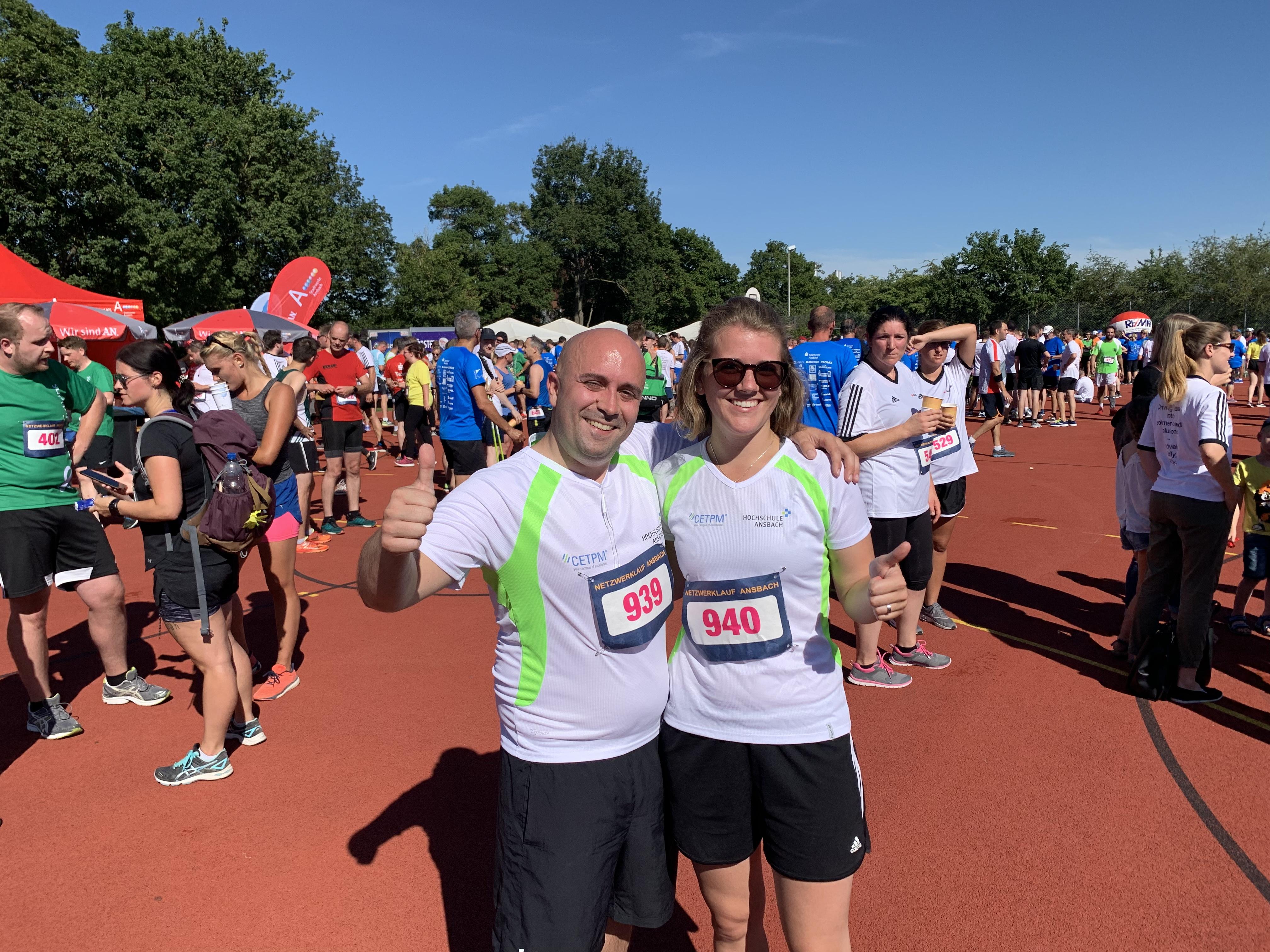 Alexandra und Florian vom CETPM beim Ansbacher Netzwerklauf 2019
