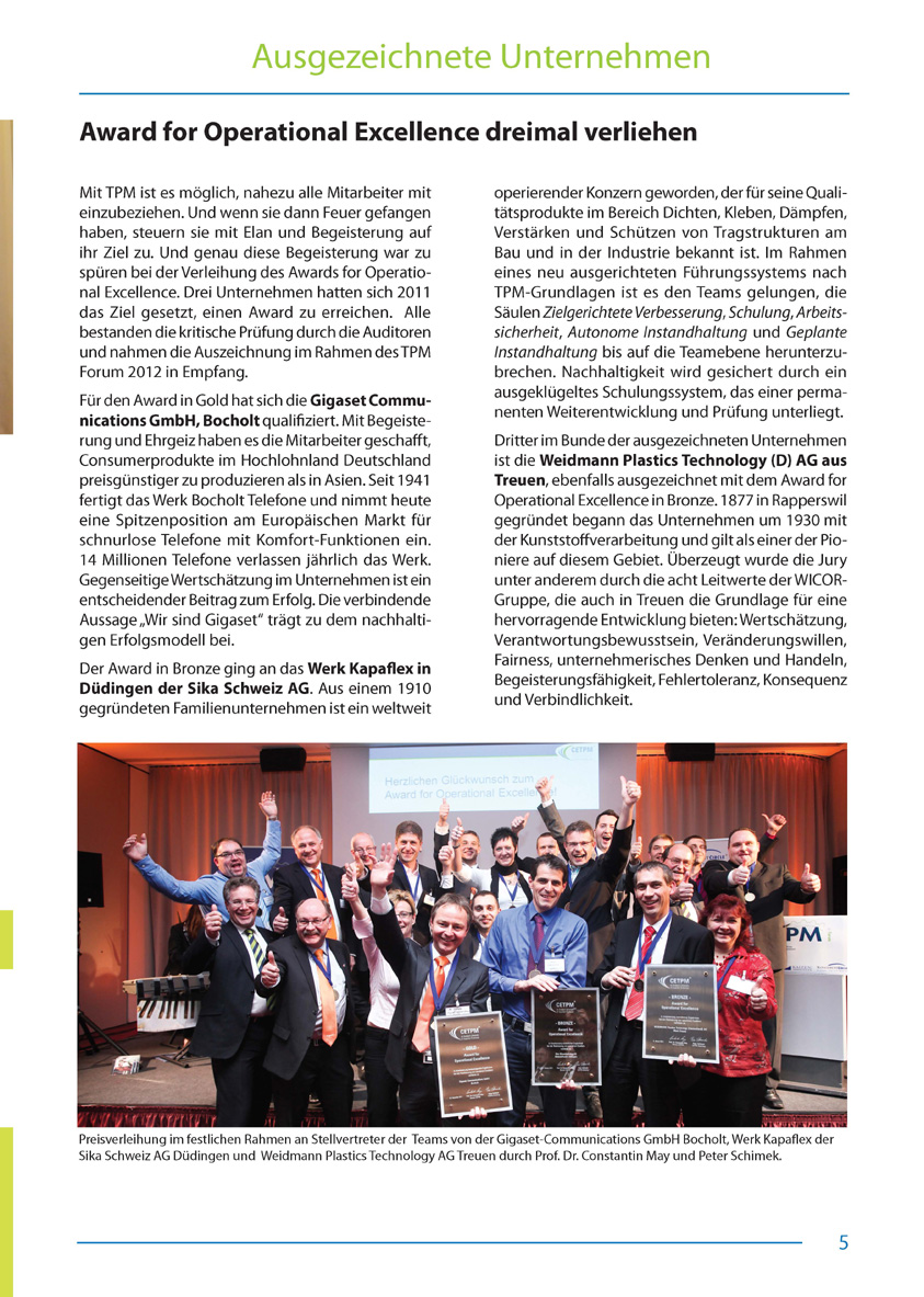 Award for Operational Excellence dreimal verliehen - Artikel aus Fachmagazin YOKOTEN 2012-03