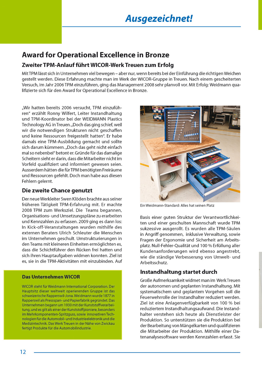 Award for Operational Excellence in Bronze - Artikel aus Fachmagazin YOKOTEN 2012-03