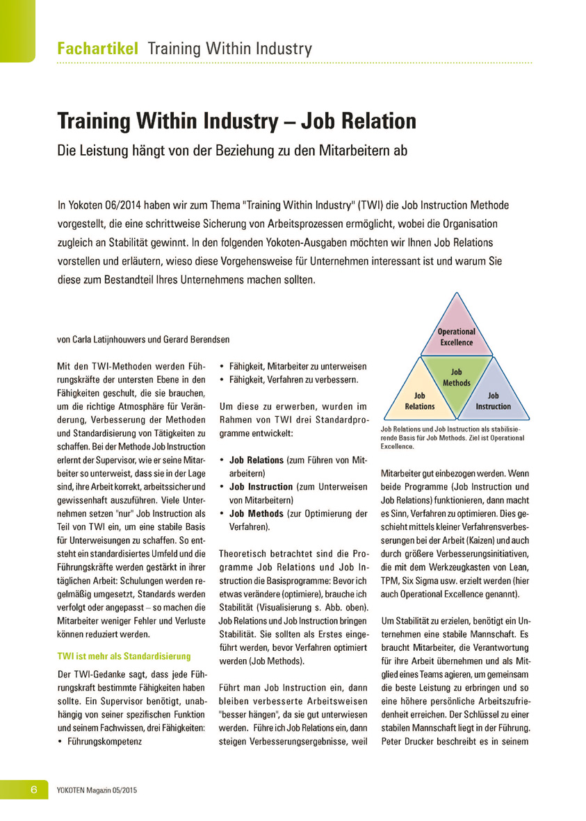 Training Within Industry – Job Relation - Artikel aus Fachmagazin YOKOTEN 2015-05